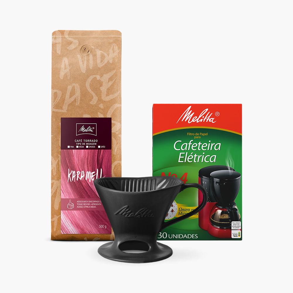 Kit-Cafe-Karamell-Melitta-500g---Moagem-Media---Filtro-de-Papel-N4---Suporte-Porcelana-Preta-N4