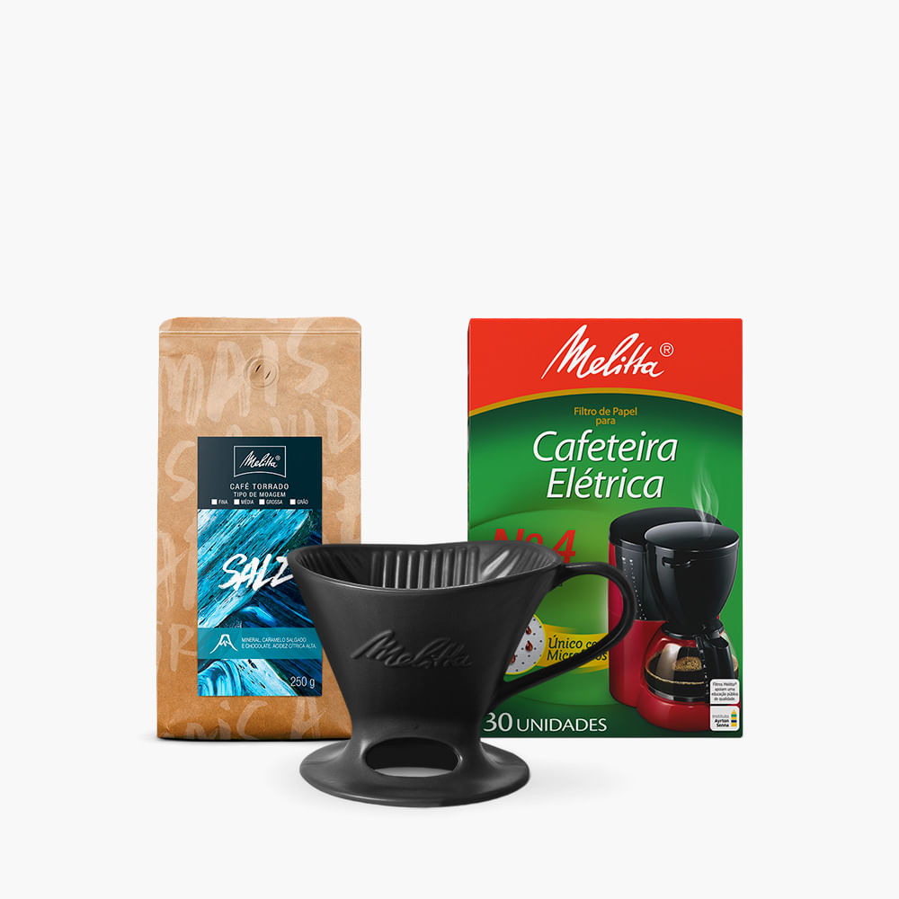 Kit-Cafe-Salz-Melitta-250g---Moagem-Media---Filtro-de-Papel-N4--Suporte-Porcelana-Preta-N4