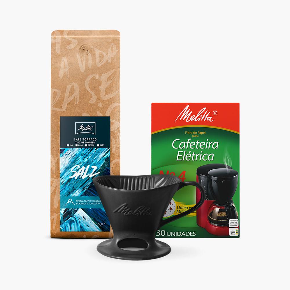 Kit-Cafe-Salz-Melitta-500g---Moagem-Media---Filtro-de-Papel-N4--Suporte-Porcelana-Preta-N4