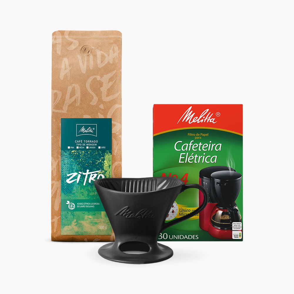 Kit-Cafe-Zitro-Melitta-500g---Moagem-Media--Filtro-de-Papel-N4--Suporte-Porcelana-Preta-N4