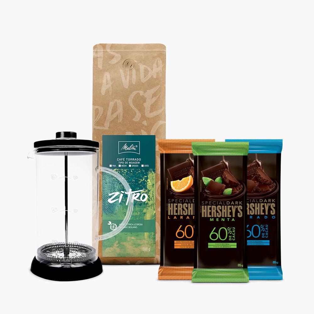 Kit-Prensa-Melitta-Zitro-500g---3-barras-Hershey-s-Special-Dark-85g