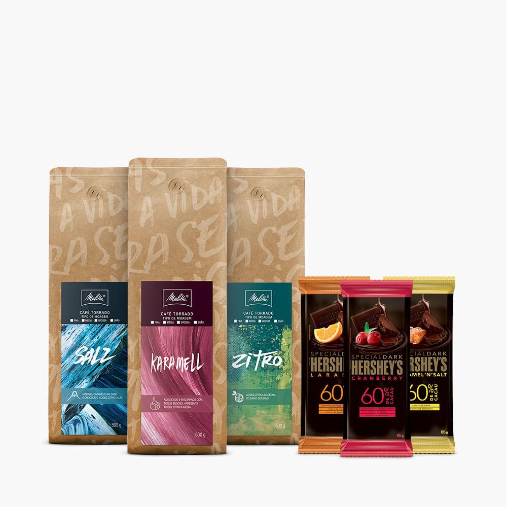 Kit-Cafes-Especiais-Melitta-Moagem-Media-500g---3-barras-Hershey-s-Special-Dark-85g