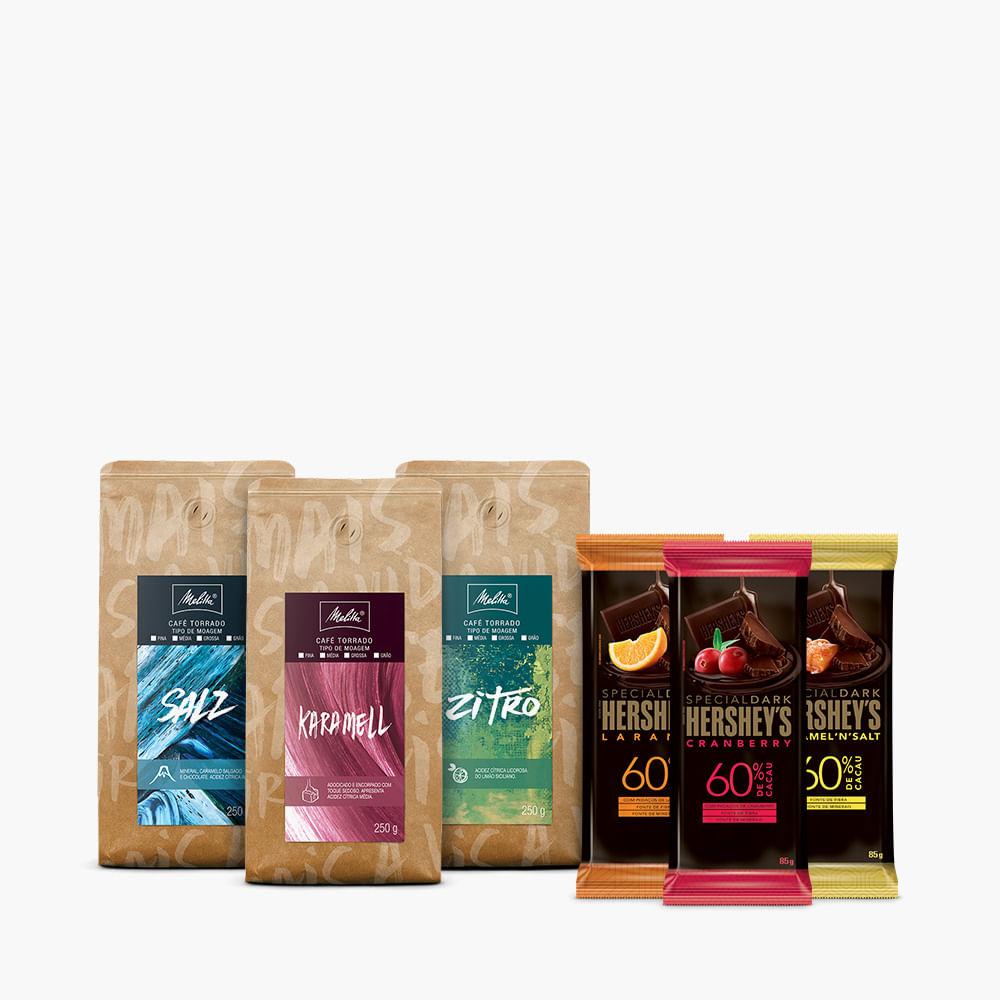 Kit-Cafes-Especiais-Melitta-Moagem-Media-250g---3-barras-Hershey-s-Special-Dark-85g